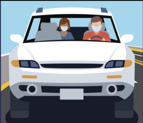 illustration of two people sitting in a car wearing masks